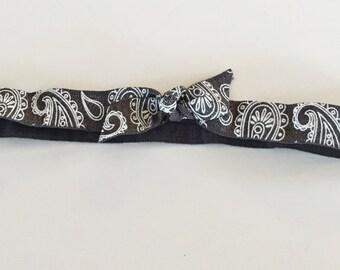 Paisley Dark Gray elastic headband