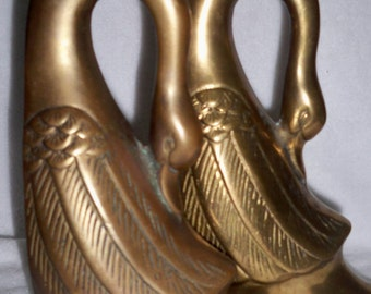 Art Nouveau Brass Swan Bookends Art Deco Brass Bookends