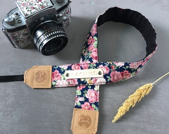 DSLR camera strap,Pink Purple  flower Camera Strap, leather camera Strap Gift for her