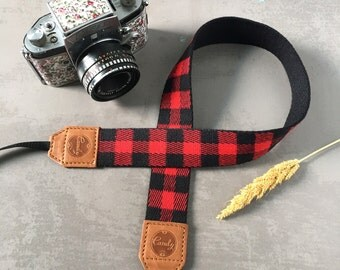DSLR camera strap, Red Scott Camera Strap, leather camera Strap ,Gift for her