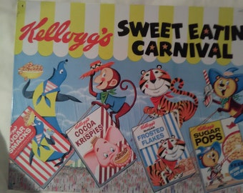 Kellogg's Sweet Eatin Carnival Metal Sign - Vintage Cereal Boxes