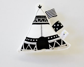 Tee Pee Baby Toy / Rattle / Hand Printed / Organic Cotton