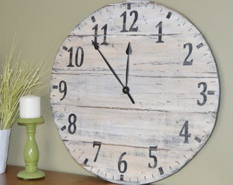 """20"""" Large Oversized Rustic Wood Wall Clock-Cream with Black numbers"""