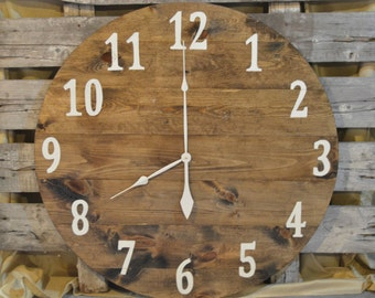 "30"" Large Oversized Rustic Wood Wall Clock-dark stain with cream numbers"
