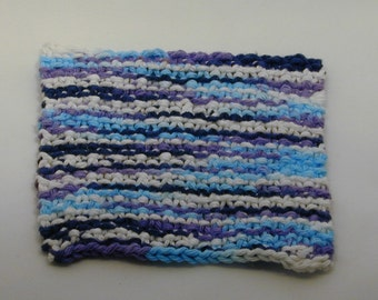 Blue and White Varigated Hand Knit Washcloth or Face Cloth Perfect for gift