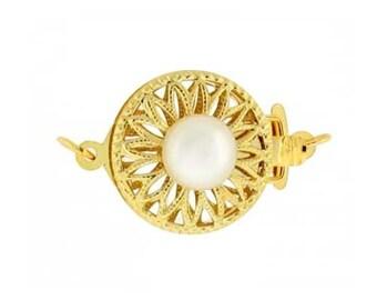 13mm Round Filigree Pearl Clasp 14 Karat Yellow / White Gold