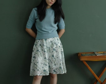 knee-length a-line floral print pleated skirt