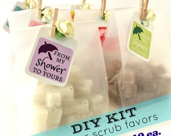 DIY KIT - Discounted Bridal Shower Favors - Mini Sugar Scrubs - 20% OFF - Unique Frosted Favor Bags, Paper Rose & Mini Clothespin 2.40 each