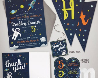 Outer Space Printable Birthday Invitation Party Package / Invitation, Thank You Card, Favor Tag, Cupcake Toppers, Pennant Banner