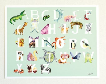 Watercolor Animal Alphabet Print, Alphabet Poster, Watercolor Animals, ABC Nursery Art, Baby Shower Gift