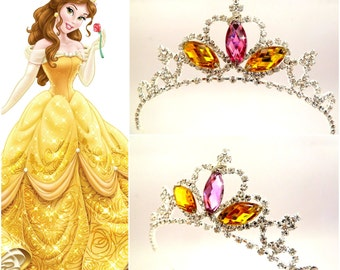 PRINCESS BELLE TIARA ,The Beauty And The Beast Belle Crown, Belle Headpice,Belle Cosplay Costume Halloween , Belle Rhinestone Tiara Headband