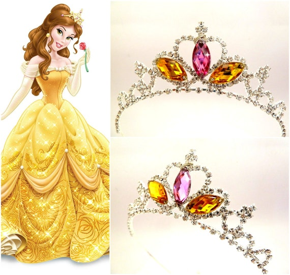 TIARA de princesa bella, la belleza y la bestia bella corona, Headpice  Belle,