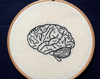Hand Embroidery. Anatomical Human Brain. 6 inch Hoop Art. Ready to Ship. Wall Hanging. Decor. Medical. Science Gift. Izombie.
