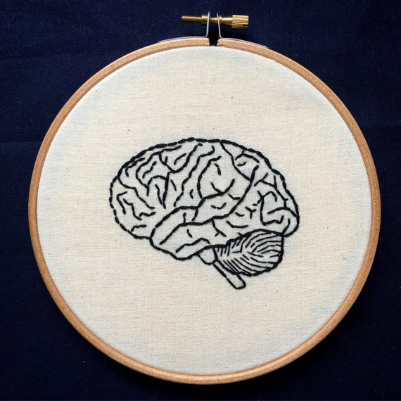 Hand embroidery anatomical human brain inch hoop art