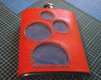 Leather Bubbles 8oz Hip Flask