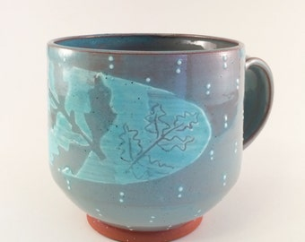 Tomato plant mug in Teal- Oval with Dots