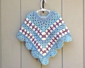 Child crochet poncho - Small crochet shawl - Girls crochet poncho - Childs small poncho