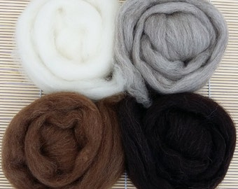 Shetland Wool Tops, Natural - British Wool Fibre - for felting and spinning