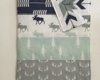 Quilted Blanket - Navy, Mint, and Grey Fletching Arrows, Moose, Antlers, and Trees