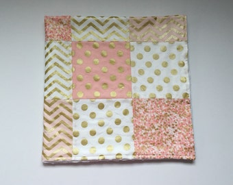 Quilt - Pink and gold with White Minky