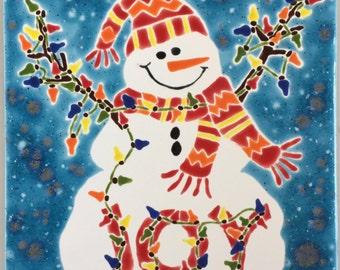 Snowman Joy hand-glazed tile
