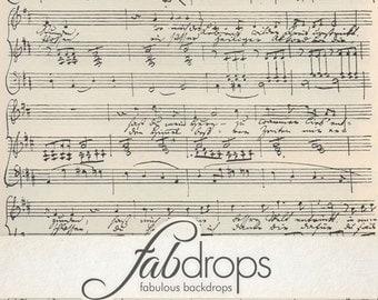 3x3 Sheet Music Vintage Photography Backdrop - Fab Vinyl 3x3 ft (FV6020)