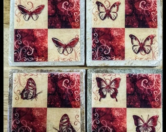 "4"" x 4"" Butterfly Stone Coasters (Set of 4) - Drink Coasters - Home Decor"