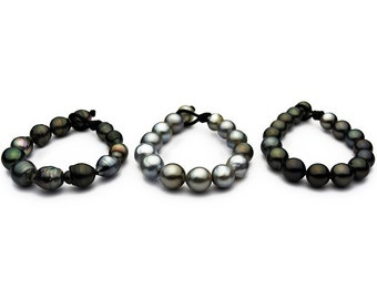 BIG 14mm Tahitian Pearl Bracelet on Leather 12 - 15mm (121)
