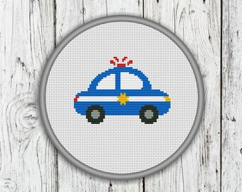 Police Car Counted Cross Stitch Pattern, Needlepoint Pattern - PDF, Instant Download