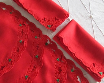 Vintage Red Linen Christmas Placemats and Napkins - Red Linen - Christmas Linen - From Holland - Holly Cutwork and Embroidery