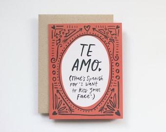 te amo spanish card printable / digital download / anniversary card / valentine's day card / love card for boyfriend husband wife girlfriend