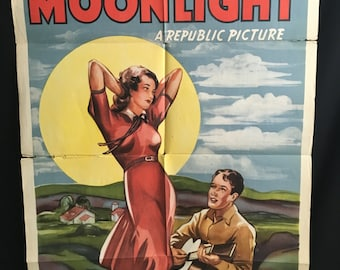 Original 1941 RARE Mountain Moonlight One Sheet Movie Poster, Weaver Brothers, Cowboy, Western, Country, Leon, Frank, June