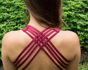 Criss- Cross Sports Bra/Bathing Suit Top in Maroon