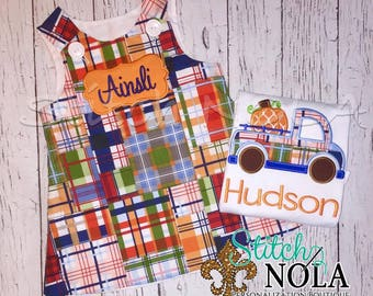 Madras Plaid A-Line Dress, Pumpkin Truck, Fall Sibling Set