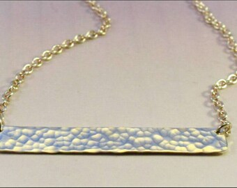 NL650 - Silver bar necklace - hammered silver necklace - silver artisan necklace - gift for her