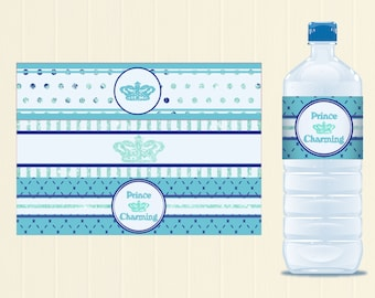Prince  Charming Baby Shower \ Toddler Boy Birthday Party Theme -  DIY Water Bottle Wrappers Printable - Instant Download