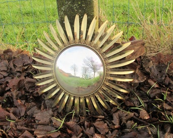 Beautiful French Sunburst Wall Hanging Convex Mirror Mid Century Brass