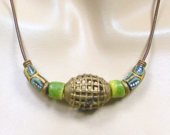 African trade bead necklace, leather cord necklace, eco friendly Ghana recycled Krobo glass, Ashanti Baule brass beads, Afrocentric Jewelry!