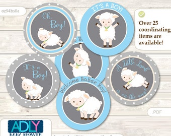 Boy Lamb Cupcake Toppers for Baby Shower Printable DIY, favor tags, circles, It's a Boy, Polka - oz94bs0