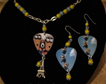 Minions guitar pick necklace and earrings set