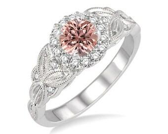 1.25 Carat Peach Pink Morganite  Round cut Diamond Engagement Ring in 14k White Gold Ring morganite and diamond engagement ring
