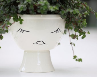 Footed Planter // Face Planter Character // Medium Plant Pot // Black and White // Lady's Face
