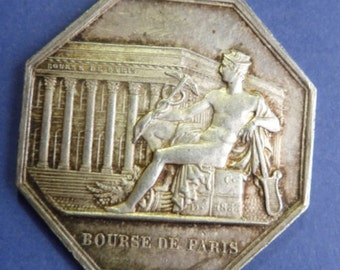 """Original French Silver Stock Exchange Medal Dated 1866. """"Bourse de Paris"""". Stunning Condition."""