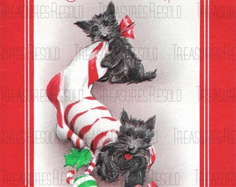 Retro Scottie Terrier Dogs Stocking Christmas Card #406 Digital Download