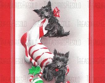 Retro Black Scottie Terrier Dogs Stocking Christmas Card #406 Digital Download