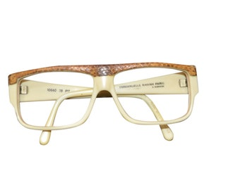 Vintage Estate AUTHENTIC Emmanuelle Khanh Paris Cream Snakeskin Eyewear