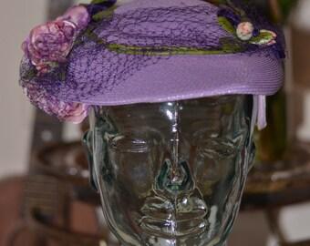 Vintage Estate Hecht & Co Lilac Floral Veil Hat