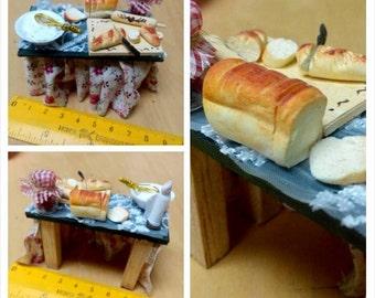 Miniature Food Bread Table,Miniature dollhouse food, Miniature bread, dollhouse, Handmade Miniatures