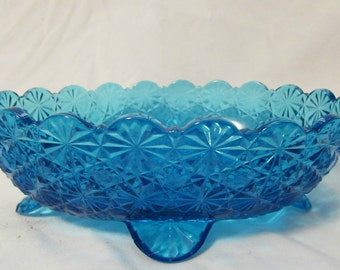 Candy or Nut Dish, Footed, Deep Aqua/Blue Glass, Pressed Glass, Oval, 1970's