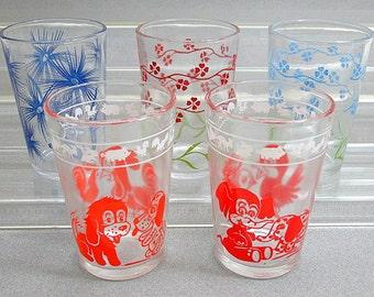Lot of 5 Vintage Swanky Swig Juice Glasses Kiddie Kups and Flowers